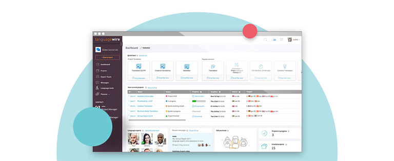 Screenshoot of LanguageWire's Content Platform